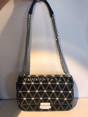 Michael Kors Sloan Logo Studded Chain Shoulder Bag Schwarz Weiss Silber