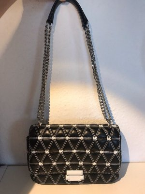 Michael Kors Sloan Logo Studded Chain Shoulder Bag Schwarz Weiss Silber Wochenendpreis!