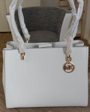 Michael Kors Sofia Large Optic White Gold Tasche Schultertasche Handtasche Saffiano Leder neu