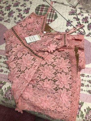 Michael Kors, Sommerkleid mit Spitze und gehäkelte Blumen, in rosa, Grösse 38, neu mit Etikett