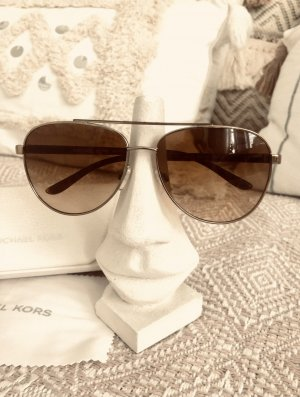 Michael Kors Owalne okulary przeciwsłoneczne złoto-brąz