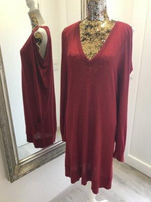 Michael Kors Robe en maille tricotées rouge foncé viscose