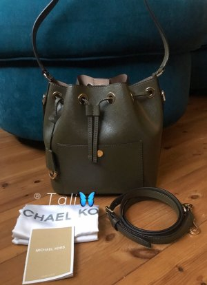 Michael Kors Tasche Greenwich Bucket MD Medium Olive Khaki Grün Gold