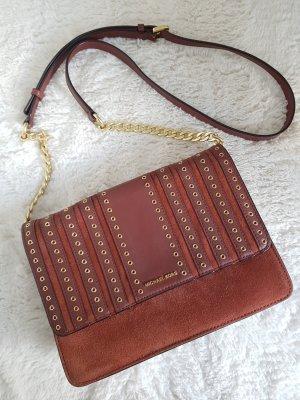 MICHAEL KORS Tasche, langer Gurt zum Umhängen, Nieten, rostrot, gold, Leder
