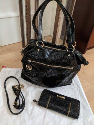 Michael Kors Tasche schwarz und Geldbörse Schwarz mit Zierreissverschluss