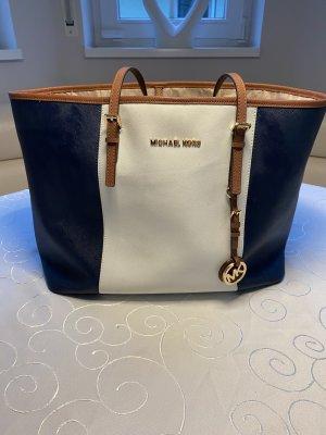 Michael Kors Tasche Shopper dunkelblau weiß braun
