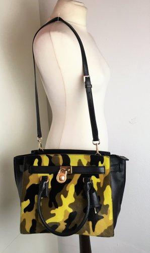 * MICHAEL KORS *  TASCHE TOTE Crossbody echt LEDER & FELL schwarz gelb camouflage brau