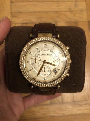 Michael Kors Reloj con pulsera de cuero marrón