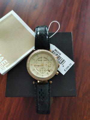 Michael Kors Zegarek ze skórzanym paskiem czarny-złoto
