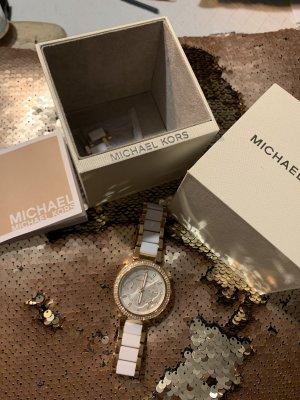 Michael Kors Horloge met lederen riempje wit
