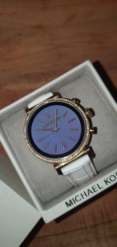 Michael Kors Reloj con pulsera de cuero blanco