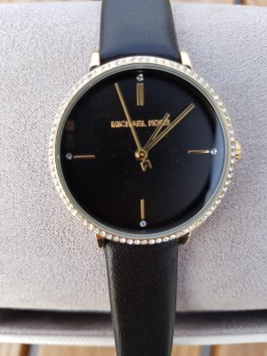 Michael Kors Uhr Armbanduhr Schwarz Gold Neu mit Etikett