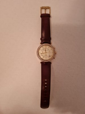 Michael Kors Watch With Leather Strap gold-colored-brown