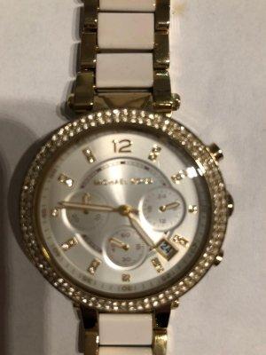 Michael Kors Horloge met metalen riempje wit-goud