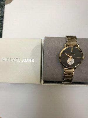 Michael Kors Horloge met metalen riempje zwart-goud