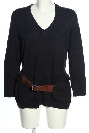 Michael Kors V-Ausschnitt-Pullover schwarz Casual-Look