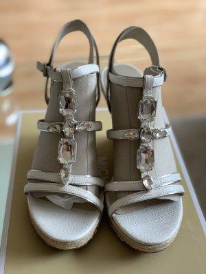 Michael Kors Plateauzool sandalen wit-zilver