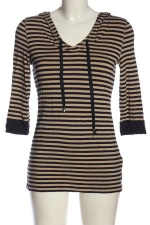 Michael Sander Hooded Shirt cream-black striped pattern casual look