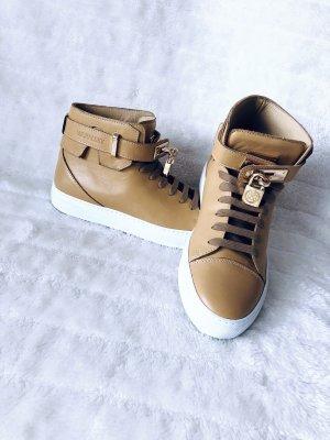 Michalsky Berlin High Sneaker Unisex Leder Hellbraun Gold Schlüssel Schloss Luxus Designer - Gr. 39
