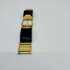 Michael Kors Watch With Leather Strap black-gold-colored