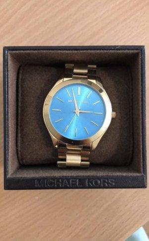Michael Kors Montre avec bracelet métallique doré-bleu clair