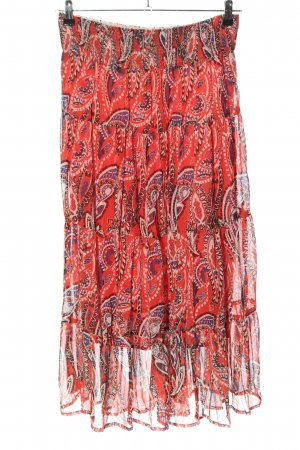Michele Boyard Broomstick Skirt red abstract pattern casual look