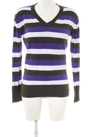 Michele Boyard V-Ausschnitt-Pullover Streifenmuster Casual-Look