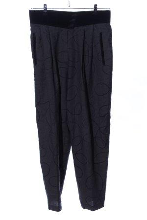Michèle Pantalon en laine noir motif graphique style décontracté