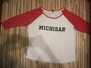 H&M Sweatshirt blanc-rouge