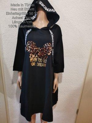 Sukienka z kapturem czarny-brązowy