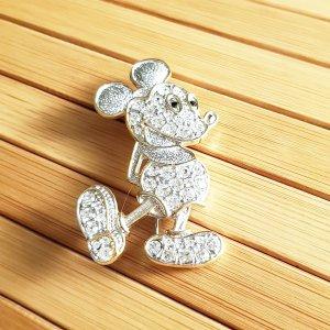 Micky Mouse Anstecknadel Brosche silberfarben Strass, 50mm