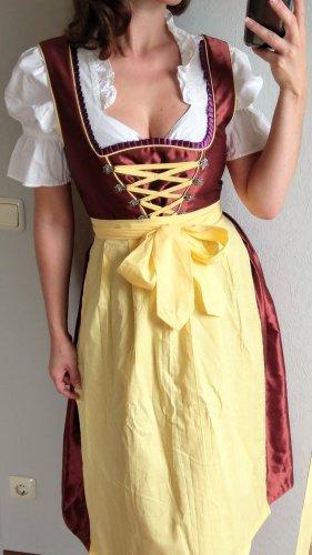 Midi Dirndl Gr 42 in Rostrot rot braun gelb mit Bluse