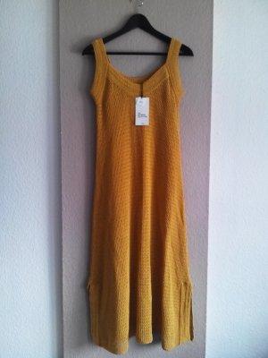 Midi-Häkelkleid in senfgelb aus 85% Baumwolle, Limited Edition, Größe S fällt grösser aus neu