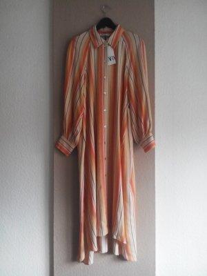 Midi-Hemdblusenkleid in Orange Farbkombination aus 91% Viskose, Grösse L, neu