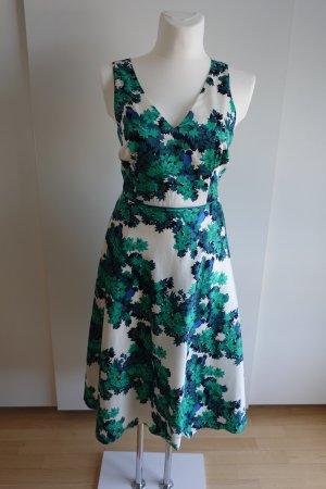 Midi-Kleid mit Blätterprint