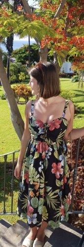 Midi Kleid mit floralen Prints und Schnürdetail
