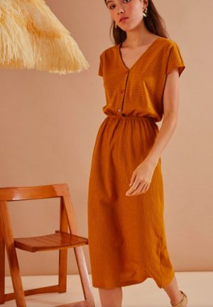 Midi-Kleid mit V-Ausschnitt Des Petits Hauts
