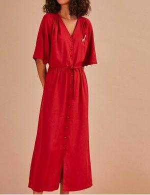 Midi-Kleid mit V-Ausschnitt Des Petits Hauts, Gr. XS/S