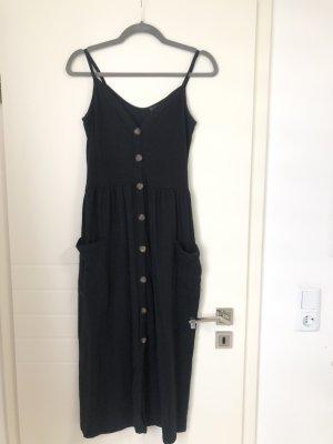 Midi Kleid Schwarz mit Trägern Knöpfe und Taschen