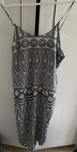 H&M Vestido a media pierna azul oscuro-blanco puro