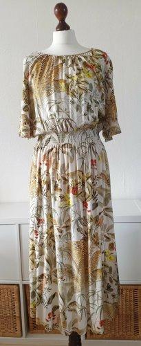 Midi-Kleid von H&M * Gr. M * Raffungen * weiß-beige-grün-rot-gelb