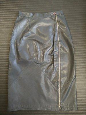 Midi-Lederrock mit durchgehendem Reißverschluss