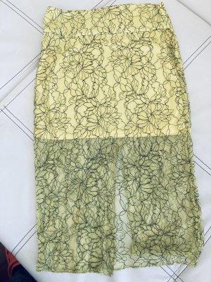 Zara Trafaluc Koronkowa spódnica czarny-bladożółty