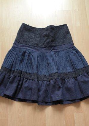 United Colors of Benetton Jupe en laine noir-bleu foncé