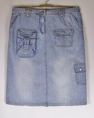 Midi Rock Jeans Crazy World Größe M 38 Hellblau Used Washed Out Denim Taschen Travel Basic Jeansrock
