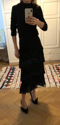 Zara Woman Spódnica midi czarny Jedwab