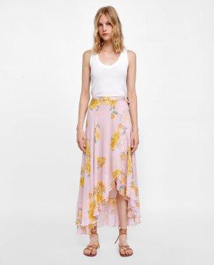 Midi Rock Volants von Zara Gr. S Asymetrisch floraler Print Blumen Blogger Influencer neuwertig