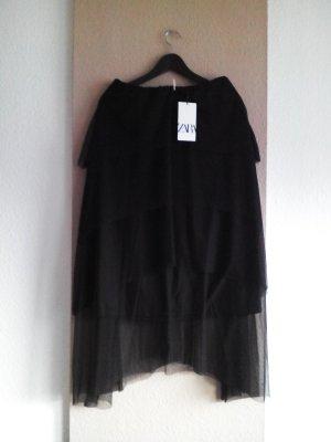 Midi-Tüllrock in schwarz, Grösse M, neu