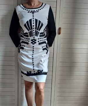 Almatrichi Vestido a media pierna blanco-negro