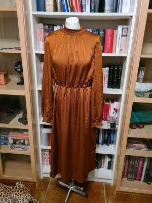 Midikleid braun Vila Gr. 38 (M) Kleid casual basic Langarm Satin